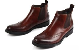 Carved boots online shopping - mens ankle boots genuine leather comfortable handmade carved men shoes for business office martin booties sapatos