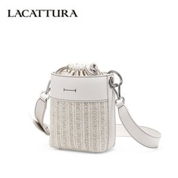 Ladies Shoulder Strap Handbags Australia - LACATTURA New 2019 Women Bucket Handbag Small Shoulder Bag Designer Woven Pattern Crossbody for Lady Messenger Bags Wide Strap