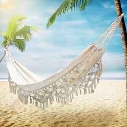 indoor swings Canada - Hammock Swing-Chair Hanging-Net Macrame Boho Garden Double Outdoor indoor Picnic Tassel T200616