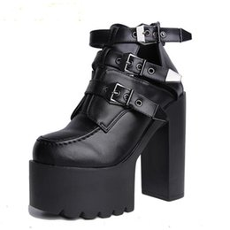 341377e3587 Women Gothic Boots Buckle Ankle Boots Patchwork Platform Punk Shoes Ultra  Very High Heel Bootie Block Chunky Heel size 34-38
