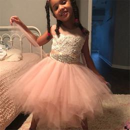 $enCountryForm.capitalKeyWord Australia - Cute Blush Short 2019 Flower Girls Dresses For Wedding Party Sheer Neck Ruffles Tulle Crystal Rhinestones Ribbon Cheap First Communion Dress