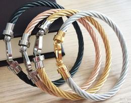 Venta al por mayor de brazaletes Francia manera de la joyería de moda cable de alambre de acero inoxidable de los hombres las mujeres hebilla de pulsera en ros