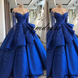 Blue Coral Beads Australia - Royal Blue Vintage Ball Gown Quinceanera Dresses 2019 Off Shoulder Long Sleeves Beads Sequined Vestidos De 15 Anos Sweet 16 Prom Gowns