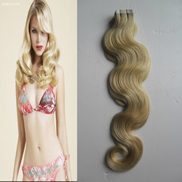 """tape hair extensions body wave 2019 - 40pcs Remy Hair 2.5g pc 10""""-24"""" 100% Real Remy Tape In Human Hair Extensions Body wave tape extensions skin we"""