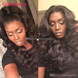 Discount human hair wig loose - Glamorous Malaysian Loose Wave Human Hair Lace Wig 10-30Inch Adjustable Lace Front Wig Peruvian Indian Malaysian Full La