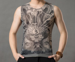 wholesale tiger shirts Australia - Fashion Tattoo clothes Printed vest men's t-shirt tattoo pattern summer elastic personality non-mainstream Buddha Guanyin Dragon Tiger
