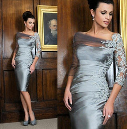 mother bride gown off shoulder Australia - Elegant Silver Knee-length Sheath Mother of the Bride Dresses Off-shoulder Lace 3 4 Long Sleeves Short Evening Gowns New Gowns
