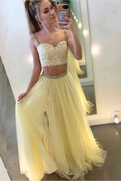 34efbb6049 Crop Top Skirt Prom Dresses Australia - Pale Yellow Two Pieces Prom Dress  Split Skirt Crop