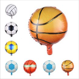 party supplies round balloons Australia - Football Balloons Aluminium Foil Air Balloon round Ballons Wedding Baby Birthday Party home outdoor decor props supplies 18 inches E600