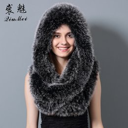red fox fur scarf Australia - Women Natural Real Fox Fur Scarves Female Shawls Luxury Collar Genuine Fox Fur Scarf & Hat Fashion Cape Girls Warm Long Scarf