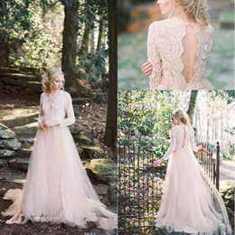 Wholesale bohemian lace tops online – Western Country Blush Pink Bohemian Wedding Dresses Long Sleeves V Neck Country A Line Plus Size Bridal Dresses Keyhole Back Lace Top BA7291