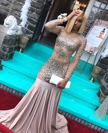 beaded illusion Australia - Vestidos De Gala Sexy Beaded Crystal Illusion Mermaid Long Prom Dress 2019 Sheer Long Sleeve Backless Draped Formal Party Gowns