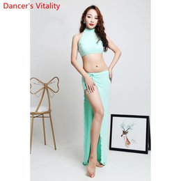 brown skirt outfits NZ - Belly Dance Practice Clothes Beginners ModaL Summer Sleeveless Top Long Skirt Set Oriental Dancing Competition Garments Outfits