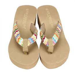 $enCountryForm.capitalKeyWord NZ - Summer Platform Sandals Beach Shoes Female Med Heels Shoes Flat Wedge Patch Flip Flops Lady Slippers For Women Indoor Outdoor