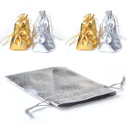 Black Gold Silver Party Decorations Australia - Gold Silver Foil Cloth Bag Candy Gift Organize Bags Wedding Party Favor Pouch Christmas Decoration Jewellery Package Bag 50pcs