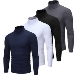 Nouvelle Automne Hiver Pull à col roulé hommes de couleur solide Pull à manches longues Slim Fit Marque Tops Pullovers Plus Size M-2XL en Solde