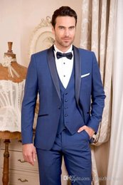 $enCountryForm.capitalKeyWord Canada - 2018 New Royal Blue Men Suits For Wedding Cheap Slim Fit Groomsmen Tuxedos One Button Formal Prom Party Suit (Jacket+Pants+Vest)