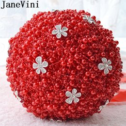 $enCountryForm.capitalKeyWord Australia - JaneVini Red Bouquet Wedding Flowers for Bride Jewelry Crystal Satin Bridal Bouquet Atificial Purple Bouquet Broche Rood Parel