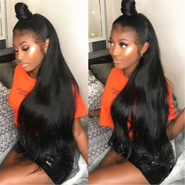 $enCountryForm.capitalKeyWord NZ - Brazilian Silky Straight Lace Front Human Hair Wigs 130 Density Glueless Full Lace Wig with Baby Hair Natural Hair Line