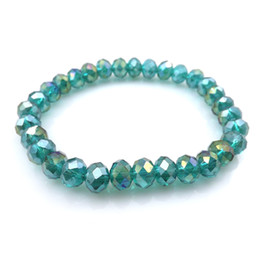 bracelets stretchy crystals NZ - Peacock AB Color 8mm Faceted Crystal Beaded Bracelet For Women Simple Style Stretchy Bracelets 20pcs lot Wholesale