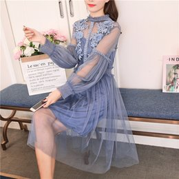 Fairy Style Dresses Australia - Spring summer vintage women flower sweet gauze lace party dress retro long lantern sleeve tulle fairy dress female 2 pcs set T5190606