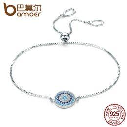 $enCountryForm.capitalKeyWord Australia - Bamoer 925 Sterling Silver Luxury Round Blue Lucky Eyes Power Bracelet Pave Cz Adjustable Link Chain Bracelets Jewelry Scb005 Y19051002