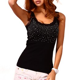 $enCountryForm.capitalKeyWord Australia - Sexy Women Rhinestone Lace Stunning Based Sleeveless Vest Tank Top Tee T-shirt Black White Gray Camisole Cami Shirt Slim