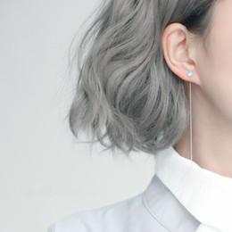 $enCountryForm.capitalKeyWord Australia - Silver Geometry Round Bead Long Tassel Earrings 925 Cat Eye Natural Stone Drop Earrings for Women Simple Earring Chain Jewelry