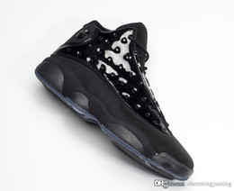 Real Authentic Shoes UK - Hottest Air Authentic 13 Cap and Gown Basketball Shoes Real Carbon Fiber Men 13S Black Suede Noir Retro Sports Sneakers 414571-012 US 7-13