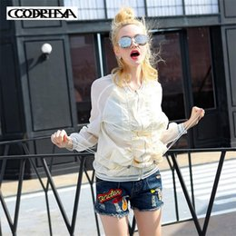 women summer jackets clothing Canada - Original European style Summer Women Funny cartoon Letter sequins Coat Clothing Transparent Sunscreen Thin Outerwear Jackets