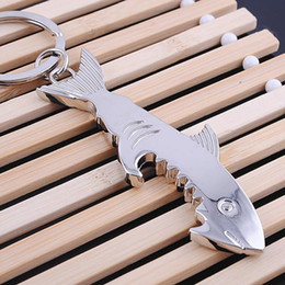 Fish shaped keychain online shopping - 2 in Creative Fish Keychain Beer Opener Keyring Can Openers Shark Shape Bottle Opener Kitchen Accessories LX7553
