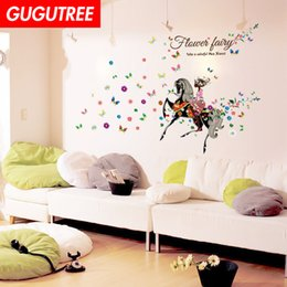 $enCountryForm.capitalKeyWord Australia - Decorate Home girl horse buttlefly cartoon art wall sticker decoration Decals mural painting Removable Decor Wallpaper G-2366
