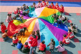 funny games play kids NZ - [Funny] Sports game 2M 3M 4M 5M 6M Diameter Outdoor Rainbow Umbrella Parachute Toy Jump-Sack Ballute Play game mat toy kids gift