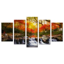 tree painting living room UK - Colorful Maple Trees Landscape Painting Canvas Prints Wall Art Contemporary Home Living Room Decoration Unframed 5 Pieces