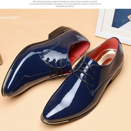 korean men shoe size 2019 - Formal business paint skin special size Korean version of pointed leather shoes raised British casual men's shoes s