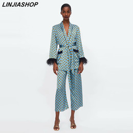 Wholesale women silk pants suits online – summer women two piece set Vintage think satin chiffon tassels feather sashes elastic suit long pants women sets