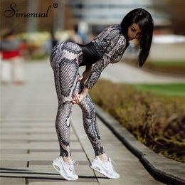 $enCountryForm.capitalKeyWord Australia - Simenual Snake Print Body Overalls Fashion 2018 Winter Bandage Women's Jumpsuits Long Pants Serpentine Patchwork Rompers Sexy MX190726
