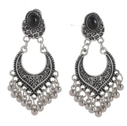 TibeT silver vinTage online shopping - Designer jewelry earrings for women Vintage black antique silver rhinestone stud earrings with small beads tassel earrings