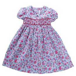 Babies Cotton Frocks Australia - Girl Smocked Dress Cotton Summer Girls Flower Baby Frock Embroidery Party Kids Dresses For Girl's Clothing Princess J190514