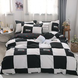 extra long bedding Canada - Cotton Bedding Set 4pcs With Duvet Cover Bed Sheet Pillowcase Children Stripe Bed Linen Set King Queen Full Twin Size Y200111