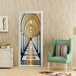 $enCountryForm.capitalKeyWord Australia - Free shipping Drop Shipping Gift Waterproof Removable Self-Adhesive 3D Corridor Print Door Sticker Wall Decor Sticker,77cm 90cm*200cm