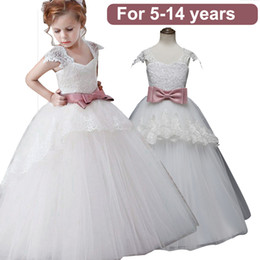 $enCountryForm.capitalKeyWord NZ - Flower Lace Embroidery Dresses for Girls White Formal Elegant Party Dress Long Prom Gowns Bow In Sash Vest Kids Dresses