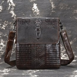 High Quality Oil Wax Cowhide Men Business Cross Body Briefcase Crocodile  Pattern Vintage Genuine Leather Messenger Shoulder Bags a3b710f09b