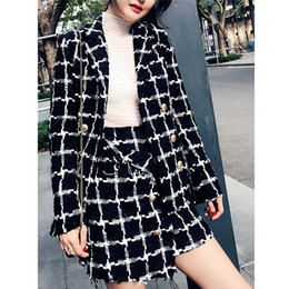 ElEgant skirts suits online shopping - 2019 Autumn Black and White Plaid Tweed Suit Set Women Elegant Double breasted Tassel Trim Women Long Jacket Coat Woolen Skirt OL Sets