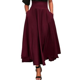 3769e37167 Faldas Skirts Womens Women High Waist Casual Pleated A Line Long Skirt  Front Slit Bow Belted Maxi Skirt Faldas Mujer Moda #z
