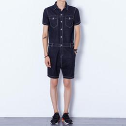 Fitted Denim Jumpsuit Australia - 2016 summer new men denim shorts rompers harem shorts men zipper fashion casual jeans jumpsuits slim fit overalls A202