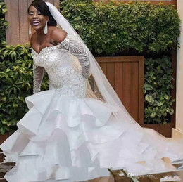 Hot up skirt dress online shopping - 2019 Hot African Nigeria Mermaid Wedding Dresses long sleeves Off Shoulder Crystal Beaded Tiered Ruffles Court Train Plus Size Bridal Gowns