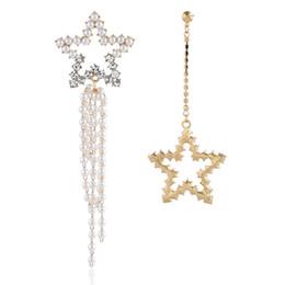$enCountryForm.capitalKeyWord Australia - New fashion personality, wild pearl, five-pointed star earrings, long alloy rhinestone tassel jewelry, social dating accessories