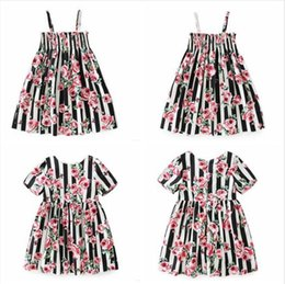red roses baby dress UK - Baby Clothes Girls Floral Rose Flowers Dresses Printed Striped Suspender Dresses Casual Princess Party Dresses Dance Tutu Ins Dress C6021
