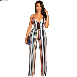 11a7d709f6d2 Discount lemon jumpsuit - Lemon Gina 2019 new women colorful stripes  spaghetti strap v-neck